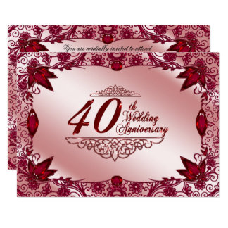 Ruby 40th Wedding Anniversary 5x7 Invitation