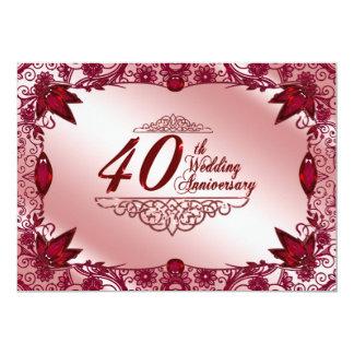 Ruby 40th Wedding Anniversary 5x7 Invitation