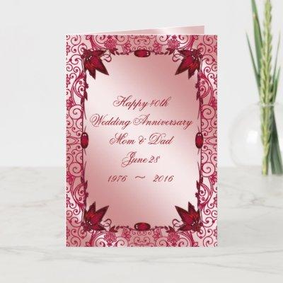 40th Ruby Wedding Anniversary Red Heart Mum Dad Card Zazzlecom