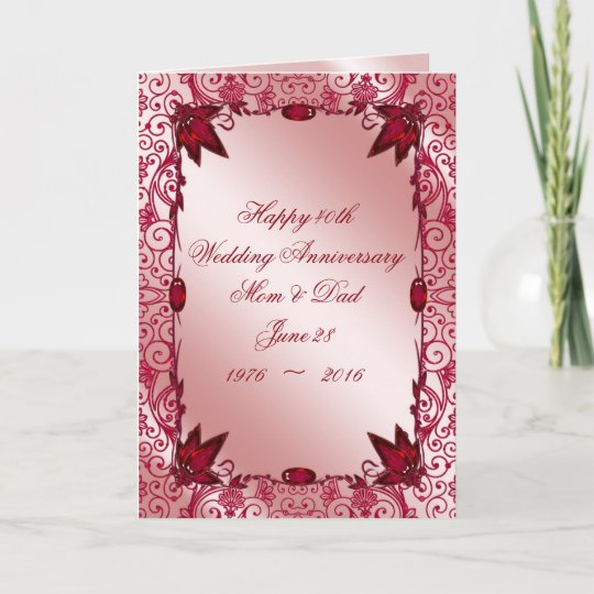 Ruby 40th wedding anniversary greeting card zazzle ruby 40th wedding anniversary greeting card m4hsunfo