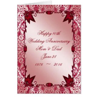 Ruby 40th Wedding Anniversary Greeting Card