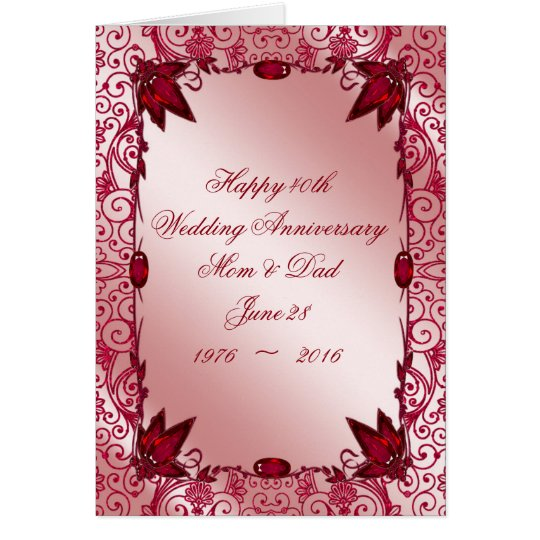 ruby 40th wedding anniversary greeting card zazzle. Black Bedroom Furniture Sets. Home Design Ideas