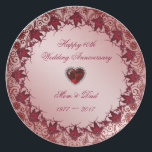 "Ruby 40th Wedding Anniversary Melamine Plate<br><div class=""desc"">A Digitalbcon Images Design featuring a ruby red color theme with a variety of custom images, shapes, patterns, styles and fonts in this one-of-a-kind &quot;Ruby 40th Wedding Anniversary&quot; Melamine Plate. This elegant and attractive design comes complete with customizable text lettering and additional images which can be deleted to make this...</div>"
