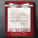 "Ruby 40th Wedding Anniversary Photo Frame<br><div class=""desc"">Lovely gift for the ruby anniversary couple. Add a recent photo or wedding photo,  their names and the date of their 40th Wedding Anniversary. Done in an elegant deep red print and silver bow,  the colors for a ruby wedding anniversary. Great anniversary gift.</div>"