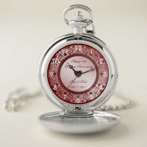 Ruby 40th Wedding Anniversary Pocket Watch