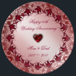 """Ruby 40th Wedding Anniversary Porcelain Plate<br><div class=""""desc"""">A Digitalbcon Images Design featuring a ruby red color theme with a variety of custom images, shapes, patterns, styles and fonts in this one-of-a-kind &quot;Ruby 40th Wedding Anniversary&quot; Porcelain Plate. This elegant and attractive design comes complete with customizable text lettering and additional images which can be deleted to make this...</div>"""