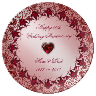 Ruby 40th Wedding Anniversary Porcelain Plate