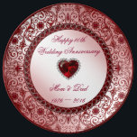 "Ruby 40th Wedding Anniversary Porcelain Plate<br><div class=""desc"">A Digitalbcon Images Design featuring a ruby red color theme with a variety of custom images, shapes, patterns, styles and fonts in this one-of-a-kind ""Ruby Wedding Anniversary"" Porcelain Plate. This elegant and attractive design comes complete with customizable text lettering and additional images which can be deleted to make this your...</div>"