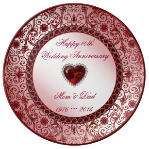 40th Wedding Anniversary Gift.Ruby 40th Wedding Anniversary Porcelain Plate