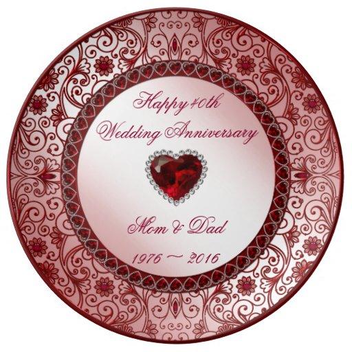 Gift 40th Wedding Anniversary: Ruby 40th Wedding Anniversary Porcelain Plate