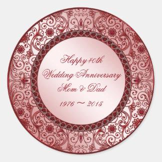 Ruby 40th Wedding Anniversary Round Sticker