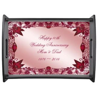 Ruby 40th Wedding Anniversary Serving Tray