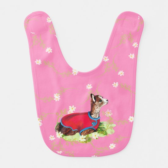 Ruby Alpaca Baby Bib for Girl
