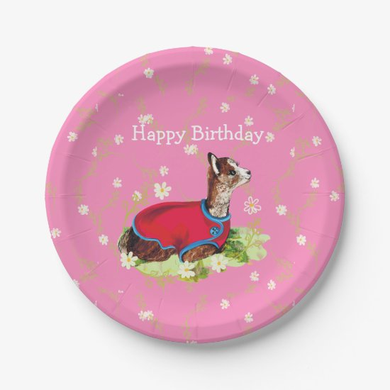 Ruby Alpaca Birthday Paper Plates