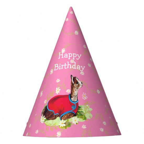Ruby Alpaca Birthday Party Hat for Girl