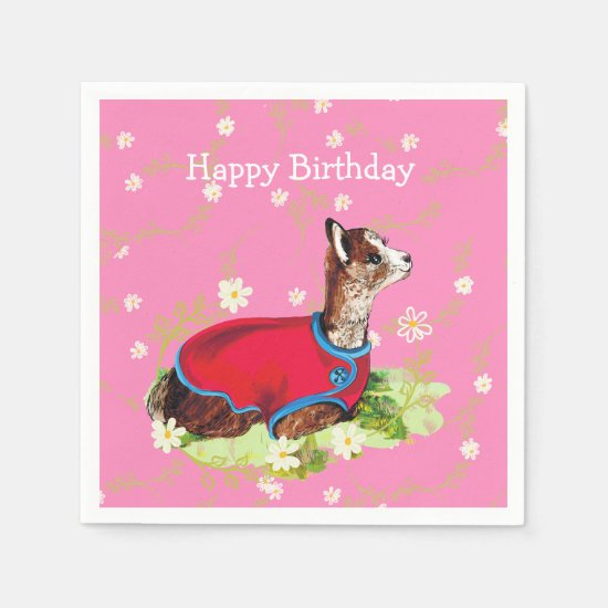 Ruby Alpaca Birthday Party Napkins