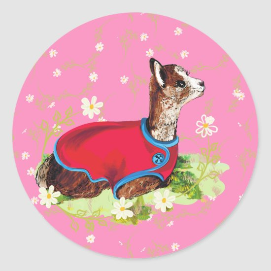 Ruby Alpaca Classic Round Stickers