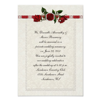 Ruby and Red Roses Ribbon Post Wedding Personalized Invites