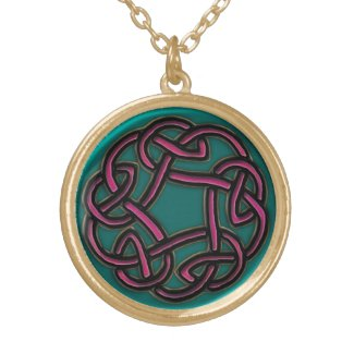 Ruby and Turquoise Metal Celtic Knot Necklace