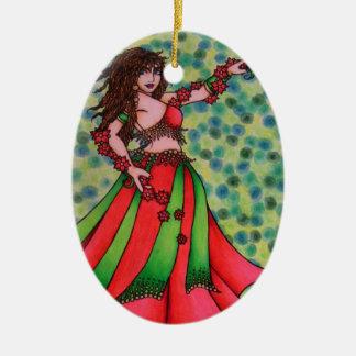 Ruby Belly Dancer Ceramic Ornament