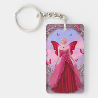 Ruby Birthstone Fairy Double Sided Keychain