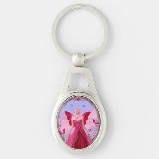 Ruby Birthstone Fairy Oval Keychain