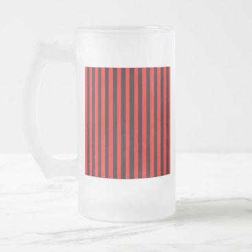 Beach Themed Ruby Black Frosted Glass Beer Mug