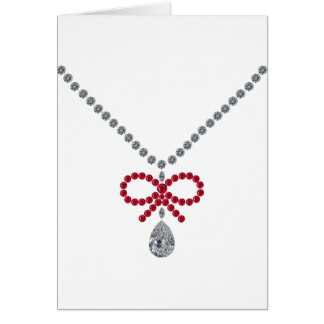 Ruby Bow Necklace Greeting Card