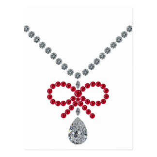 Ruby Bow Necklace Postcard