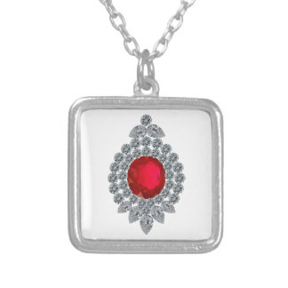 Ruby Brooch Square Pendant Necklace