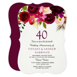 Ruby Burgundy Red Floral 40th Wedding Anniversary Card