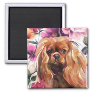 'Ruby' Cavalier dog art magnet