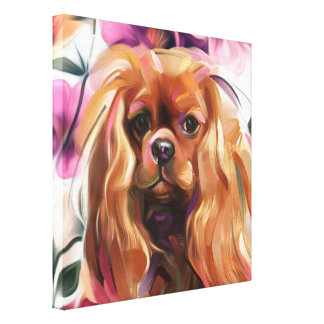 'Ruby' Cavalier dog art print on canvas