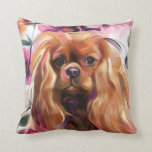 "&#39;Ruby&#39; Cavalier dog art print pillow<br><div class=""desc"">Vintage style floral dog art pillow with &#39;Ruby&#39; cavalier king charles spaniel design in soft colors.</div>"