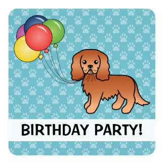 Ruby Cavalier King Charles Spaniel & Balloons Card