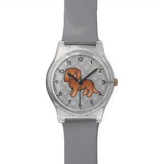 Ruby Cavalier King Charles Spaniel Cartoon Dog Wrist Watch
