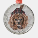 Ruby Cavalier King Charles Spaniel in the snow Round Metal Christmas Ornament