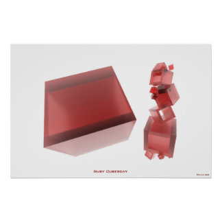 Ruby Cubesday HI-RES Digital Abstract Art Poster