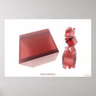 Ruby Cubesday HI-RES Digital Abstract Art Poster