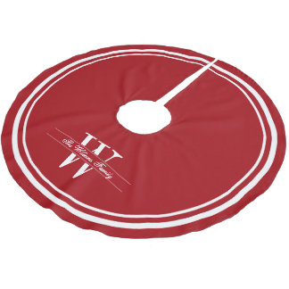Ruby Double Border Monogram Brushed Polyester Tree Skirt