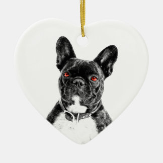 Ruby Eyed French Bulldog Ceramic Ornament