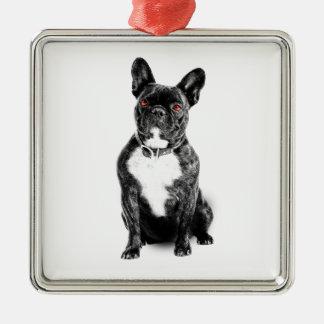 Ruby Eyed French Bulldog Metal Ornament