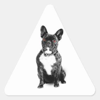 Ruby Eyed French Bulldog Triangle Sticker