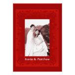 Ruby Floral Frame Wedding Invitation Custom Invitation