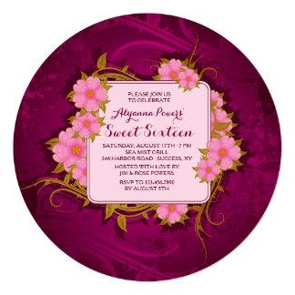 """Ruby Floral Invitation 5.25"""" Square Invitation Card"""