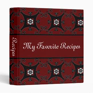 Ruby Floral Swirls Recipe Book 3 Ring Binder