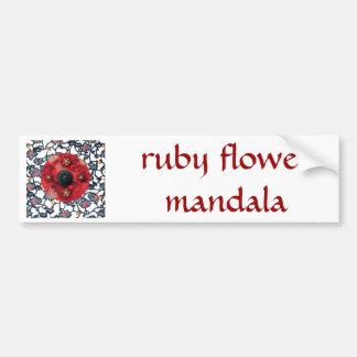Ruby Flower Mandala - collage Car Bumper Sticker