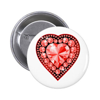 Ruby Gemstone Heart Button