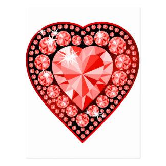 Ruby Gemstone Heart Post Cards