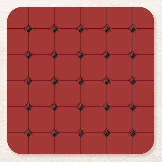 Ruby Geo Jersey Knit Square Paper Coaster